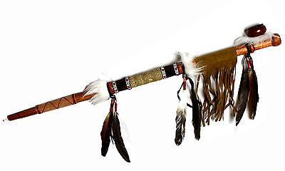 Indianer Pfeife Friedenspfeife LEDER LATZ Holz 70 cm Perlen Federn Fasching