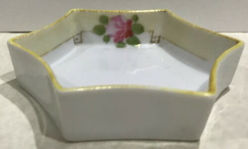 Japan Nippon 6 Sided Small Dish Roses Gold Trim