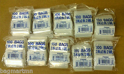 1000 2x2 Reclosable Clear 2mil Poly Plastic Sealable Ziplock Bags