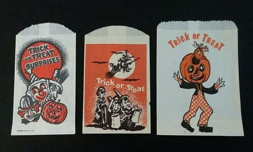Vintage*UNUSED* Halloween Treat Bags: Creepy Clowns, Flying Witch, J-O-L Man