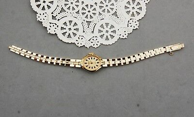 Waltham Gold Tone Bracelet Watch Woman Oval 17 Jewel Runs Needs Adjustment