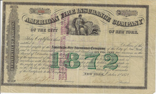 NEW YORK 1872 American Fire Insurance Co of New York Stock Certificate