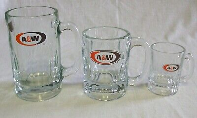 Lot of 3 A & W Root Beer Mugs Papa Mama & Baby Excellent Condition