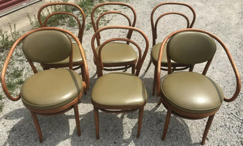 Set of 6 THONET Antique Bentwood Chairs / Some With Original Factory Labels