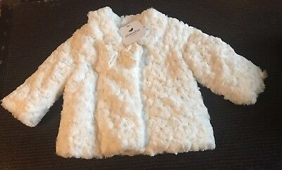 Faux Fur Coat Girl (NWT Absorba Paris White Baby Girl's Coat Jacket Button Up Faux Fur 3-6)