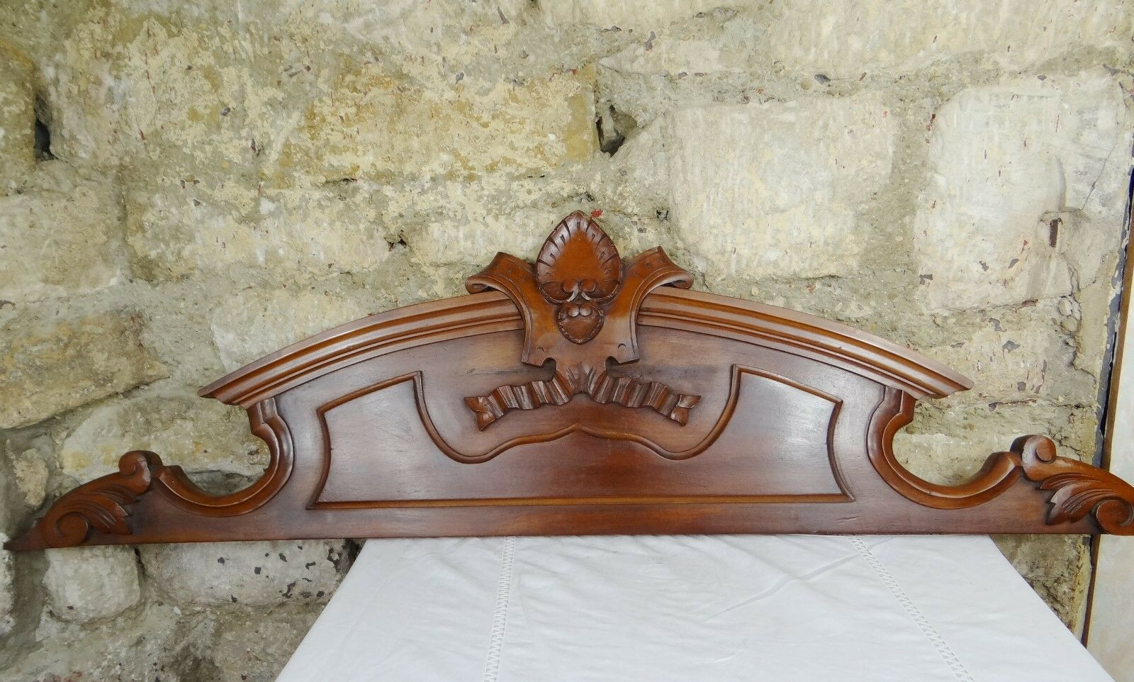 """45""""  Antique French Pediment Architectural Crown Mahogany Carved Wood"""