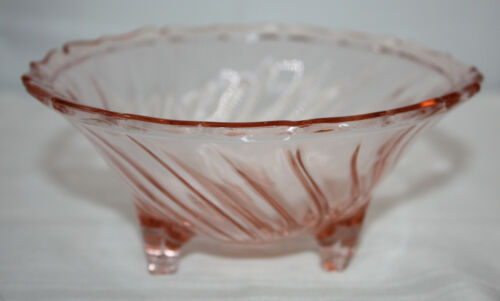 "Vintage Three Footed Open Candy Dish ~ Swirl Pink ~ by Jeannette ~ 5-3/4"" ~ EUC"