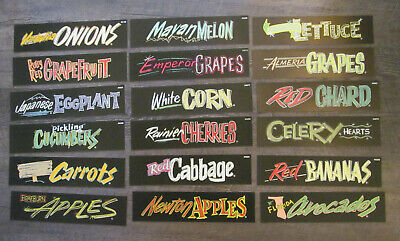 Lot of 18 vintage plastic grocery store produce signs kitchen decor Grapes Corn