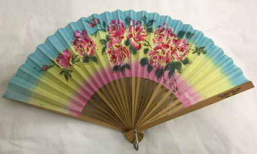 VTG HAND PAINTED JAPAN RAINBOW RED ROSE PAPER BAMBOO WOOD FOLDING SENSU FAN