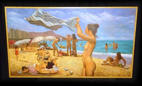 "Hawaii Surrealist Oil Painting ""nudists @ Waikiki Beach"" By Snowden Hodges (sho)"