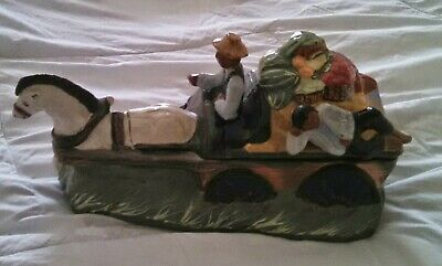 RARE  Rick Wisecarver Cookie Jar Horse Drawn Fruit Wagon Ex Cond 1992