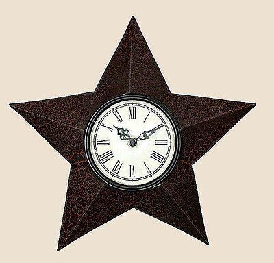 Primitive Early American Big Barn Star Roman Numeral Electric Wall Clock Cr Blk