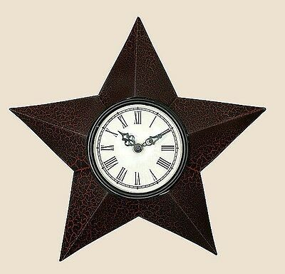 Primitive Early American Big Barn Star Roman Numeral Electric Wall Clock Cr Blk