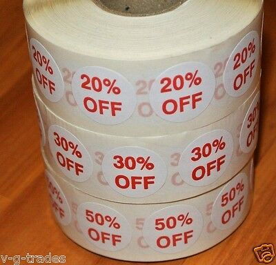 Lot Of 3000 Self-adhesive 20 30 50 Off Labels 34 Stickers Tags Discount