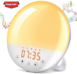 Wake Up Light, Sunrise Alarm Clock Sunset Simulation 7 Colors 9 Alarm Sounds Sno