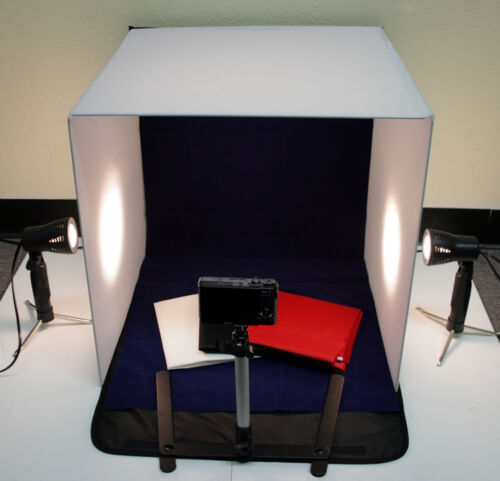 """20"""" 50cm Photo Studio Table Top Lighting Kit With Cube Tent Soft Box 4 Backdrops"""