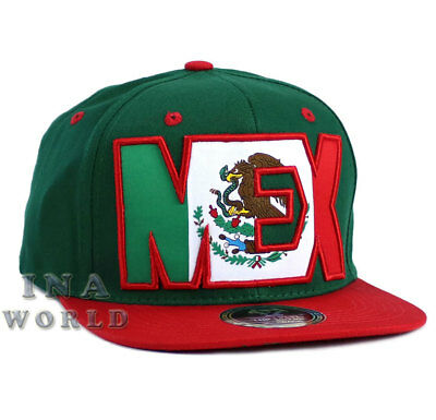 MEXICAN hat MEXICO Flag on MEX Snapback Cotton Flat bill Baseball cap- Green/Red