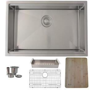 NEW 30 inch Undermount Single Bowl 16 Gauge Stainless Steel Condition: New