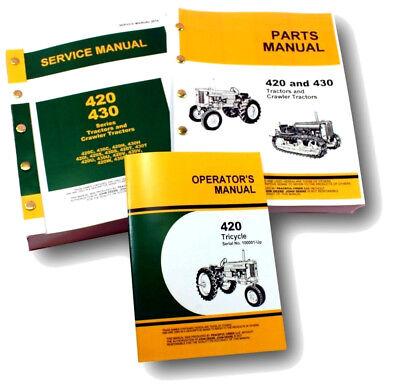 Service Manual Set John Deere 420 420t Tricycle Tractor Operators Parts Catalog