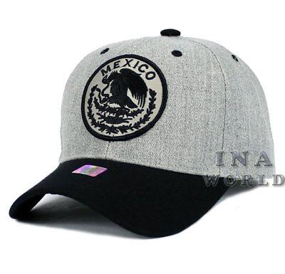 MEXICAN hat cap MEXICO Federal Logo Curved bill Baseball cap- Heather Gray/Black