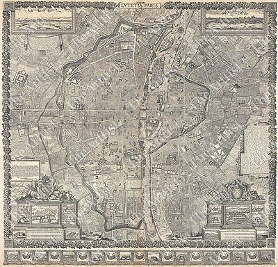 GIANT VINTAGE historic PLAN PARIS FRANCE 1652 OLD ANTIQUE STREET MAP art print