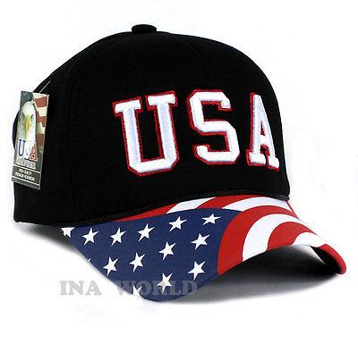 USA American Flag hat Foam cap Stars & Stripes Curved bill Baseball cap- Black