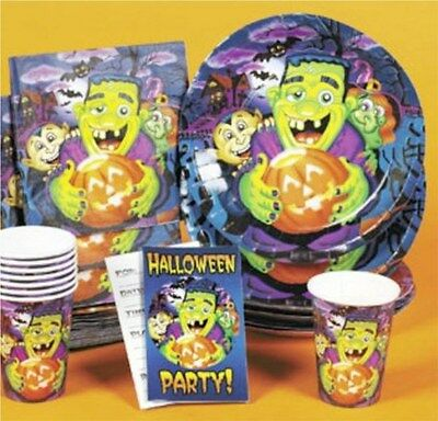 Halloween Birthday Monsters Party 40pc napkins paper plates cups invitation - Halloween Plates Cups Napkins