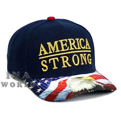 USA Flag hat AMERICA STRONG Snapback Eagle Flag bill Baseball cap- Navy Blue