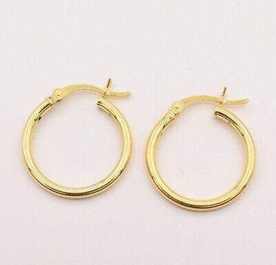 2mm X 20mm All Shiny Plain Hoop Earrings 14K Yellow Gold Clad Silver 925