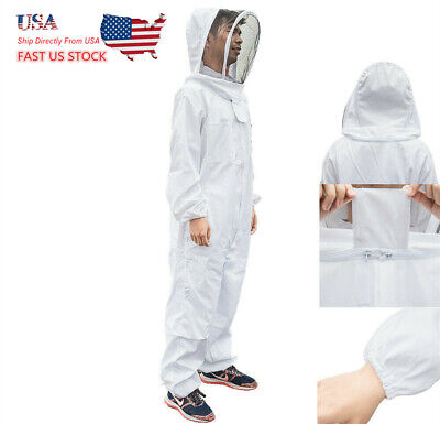 Bee Keeping Beekeeper Coverall Suit Jacket Safety Veil Hat Body Equipment Hood L