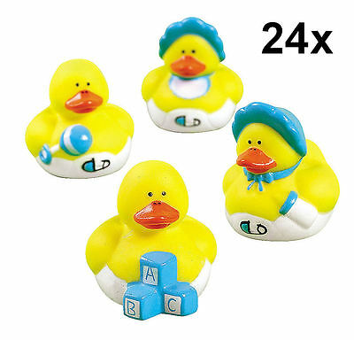 24 Baby Boy Rubber Duckies - Baby Shower Party Favor Gifts Cake Topper Toy NEW - Baby Shower Rubber Duckies