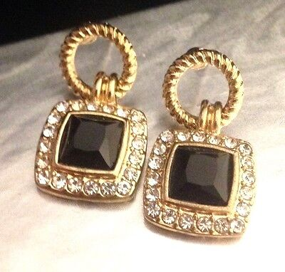 Designer STATEMENT Pierced Earrings Black & Clear Crystals Premier Quality 11D