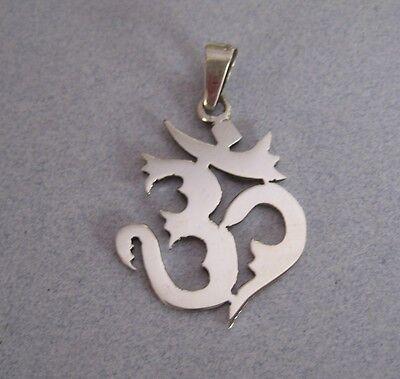 Mexico 925 Silver Taxco Hindu Ohm Om Aum Hindu Krishna Mantra Yoga Large Pendant