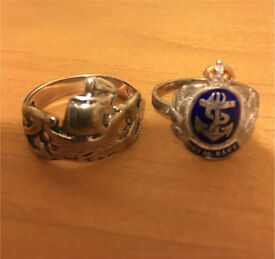 Vintage enamelled Royal Navy WW2?? Sweetheart ring?? with anchor design & a silver boat design ring