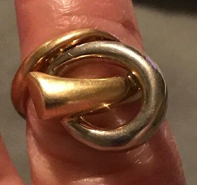 Rare 10K yellow & white Gold Knot Ring Sz. 5 or 5 1/2
