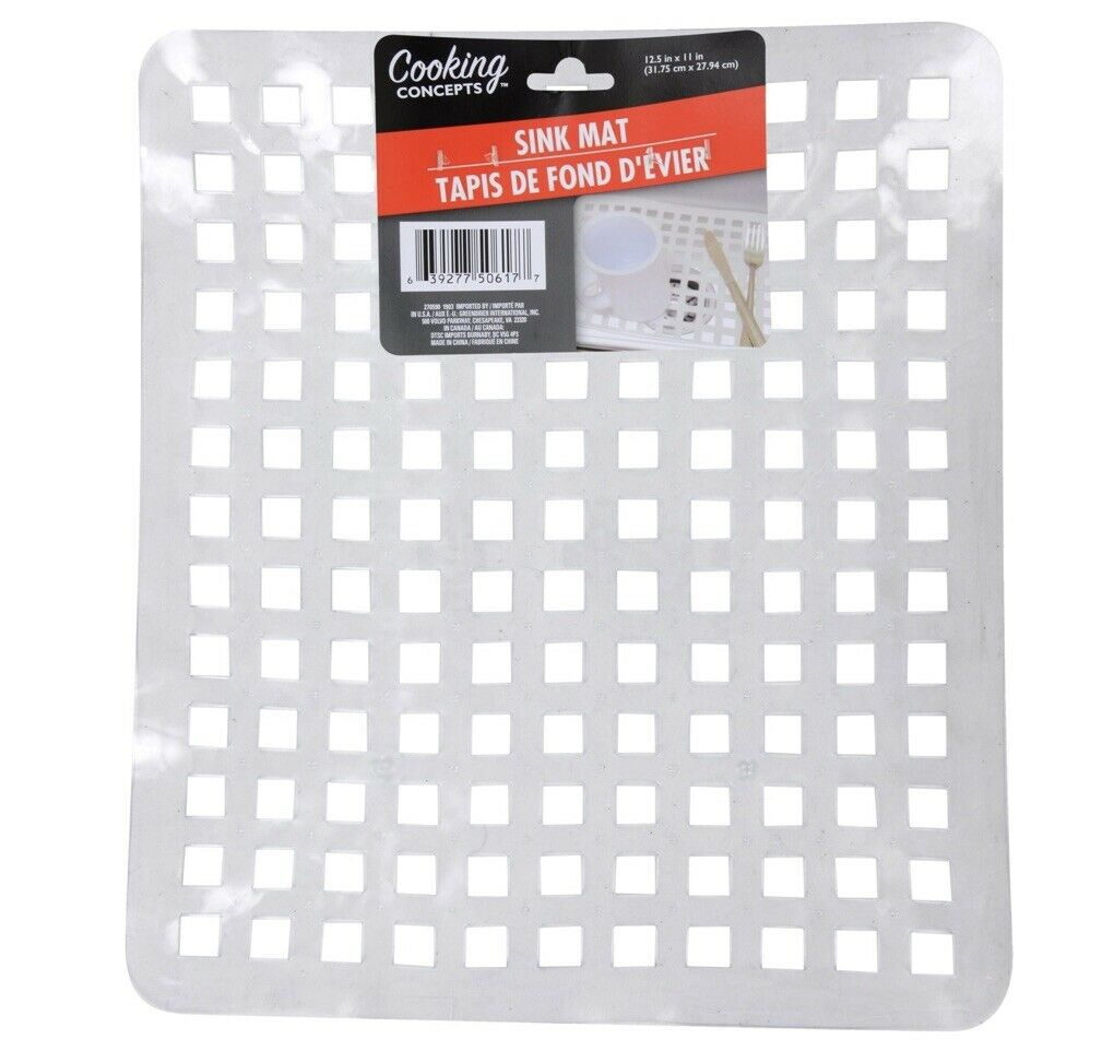 """Kitchen Cooking Concepts Sink Mats 12.5"""" x 11"""" Soft Clear Plastic Grid"""