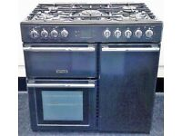 LEISURE USED DUAL FUEL BLACK RANGE COOKER + FREE BH ONLY POSTCODES DELIVERY & 3 MONTHS GUARANTEE