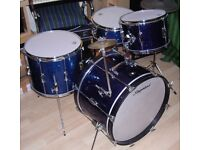 VINTAGE 60s SLINGERLAND 3 PIECE STAGEBAND OUTFIT. GORGEOUS BLUE GLASS GLITTER FINISH. 20, 12, 15.