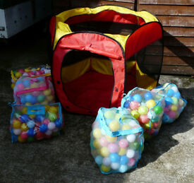 Play pit balls, 6 v.full bags multicoloured) +house/pit. For kids but out dog loved them. Great fun.