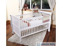 Scarlett Cot Bed New Baby Sleigh White Wooden Safety Cotbed Country