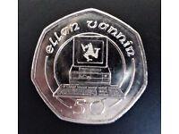 RARE 1989 commemorative Isle of Man Computer Large 50p coin circulated, Ellan Vannin