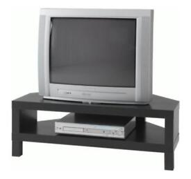 IKEA LACK CORNER TV STAND IN MAT BLACK WITH SHELF IN EXCELLENT CONDITION