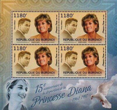 DIANA PRINCESS OF WALES and Prince William Stamp Sheet (2012 Burundi)