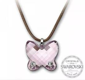 Swarovski butterfly pendant with authentication certificate in original box