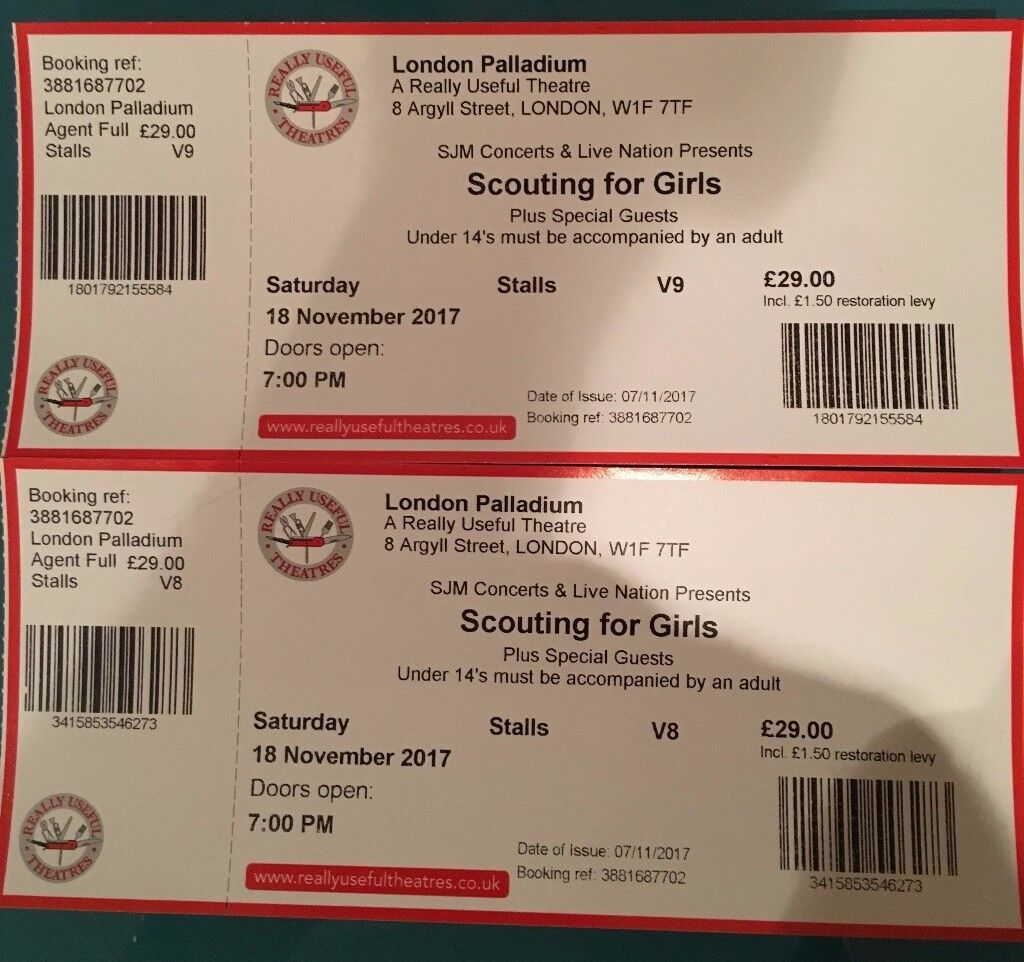 Scouting for Girls... 7:00pm ...stalls row V