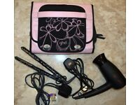 GHD Hair Straighteners & GHD Travel Hairdryer with Heat Protection case