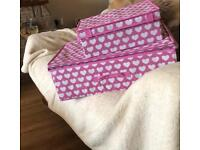 Set of 2 pink canvas storage boxes