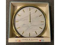 Gold and White Marble Effect Wall Clock
