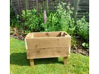 Rectangular wooden garden planter 60 cm x 32 cm x 45 cm H, 30 cm deep
