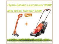 Flymo Easimo Electric Lawnmower 900W 32cm Metal Blade & Mini Trim Strimmer 230W